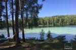 Stovyklavietė, esanti pusiasalyje su nuostabiu vaizdu į Luokesų ežerą