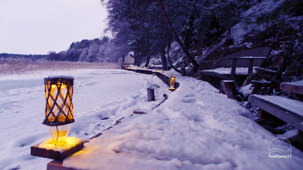 Nameliai dviems prie ežero (šildomomis grindimis),namukas su kadagine sauna, kubilas-jaccuzi - 10