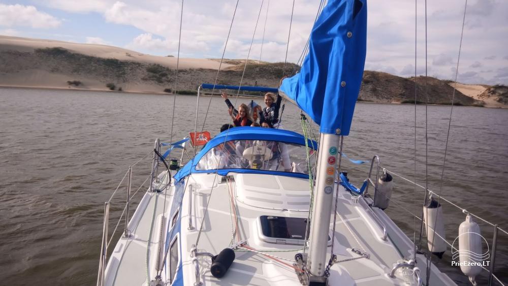 Plaukimas jachta Kuršių mariose, Nemuno deltoje, jūroje - kelionė jachta iš Nidos, Klaipėdos, Mingės - 4